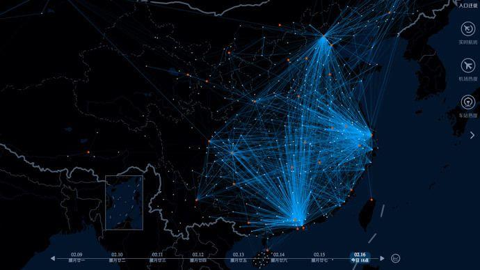 En heat map från Baidu visar hur över 1 miljard kineser reser samtidigt under det kinesiska nyåret